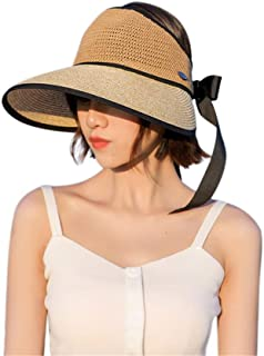 Hats Women's Adjustable Wide Brim Straw Leopard Bow Decoration UV Protection Beach Cap Fashion Lady Must-Haves Fashion (Color : Beige, Size : Free Size)