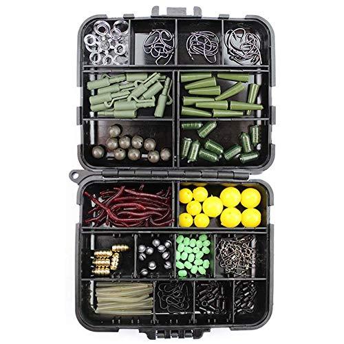 C/N Kits de accesorios de pesca de carpa aparejo en caja incluyendo ganchos reforzados roscados de cobre colgante de objetos pesados, 189 unidades