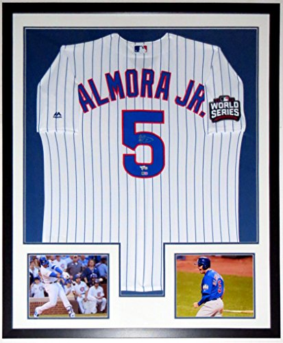 Albert Almora Jr. Signed Majestic Chicago Cubs 2016 World Series Jersey - MLB & Fanatics COA Authenticated - Custom Framed & 2 World Series 8x10 Photo & Patch 34x42