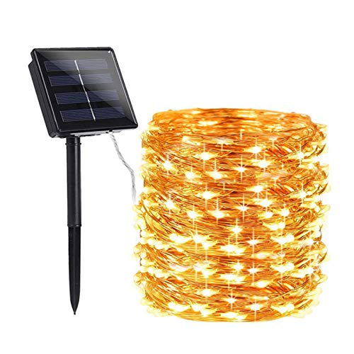 Solar Christmas Lights Solar Outdoor String Lights, 8 Functions, 72 feet 200 LED Warm White, can add Color to Gardens, Families, Weddings, Christmas Parties and Parties.
