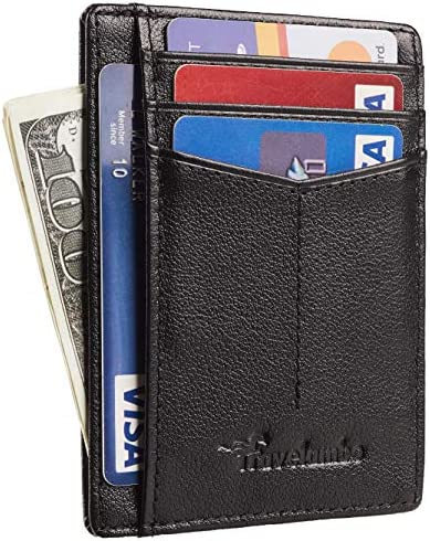 Travelambo RFID Front Pocket Minimalist Slim Wallet Genuine Leather Small Size Ace Napa Black product image