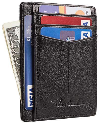Travelambo RFID Front Pocket Minimalist Slim Wallet Genuine Leather Small Size (Ace Napa Black)