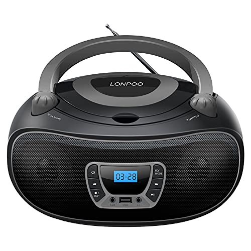 LONPOO Stereo FM Radio Portable CD Player Boombox with Enhanced Crystal Sound, Bluetooth, Aux-in, USB Playback,3.5mm Earphone Jack,Black