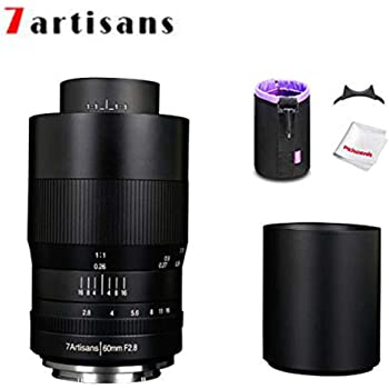 7artisans 60mm F2.8 APS-C Macro Lens, Manual Focus Fixed Lens for Sony E Mount Mirrorless Cameras W/Lens Pouch Bag & Focus Wrench, Black