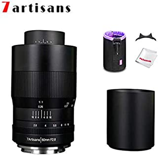 7artisans 60mm F2.8 APS-C Macro Lens, Manual Focus Fixed Lens for Fuji X Mount Mirrorless Cameras W/Lens Pouch Bag & Focus...