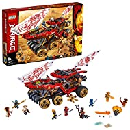 Land Bounty vehicle features wheels with a steering function, 2 shuriken slicers and detachable weaponised flyer with a minifigure cockpit This ninja building set includes 9 LEGO NINJAGO minifigures: Wu, Kai, Jay, Nya, Cole FS, Aspheera, Char, Pyro D...