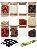 Aitsite 12pcs Botes para Alimentos Vidrio 220ml Tarros de Vidrio Almacenamiento Botes de Cristal con Tapa de Bambú&Anillo de Alimentos Cristal sin BPA para Condimentos, Caramelo, etc.