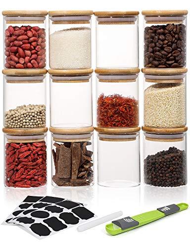 Aitsite Set di 12PCS Barattolo di Vetro 220ML Vetro Piccoli Barattolo Vetro Borosilicato Cucina Barattoli e contenitori di Legno bambù e Rondella in Silicone, per Spezie, Caramelle