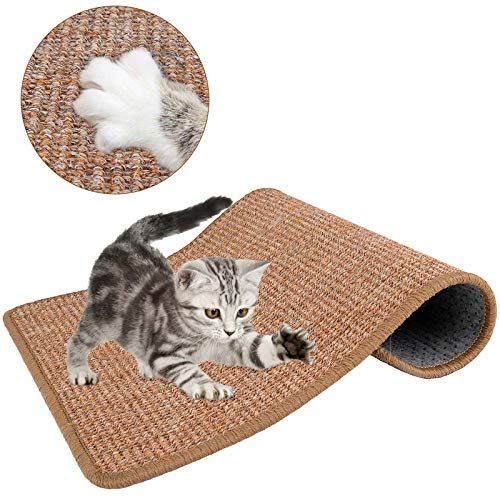 Lukovee Katzenkratzmatte, natürliches Sisal-Seilkratzkissen zum Kratzen von Katzenkrallen und zum Schutz von Teppichteppichmöbeln, strapazierfähiges rutschfestes l (15,7 x 23,6 Zoll) (Braun)
