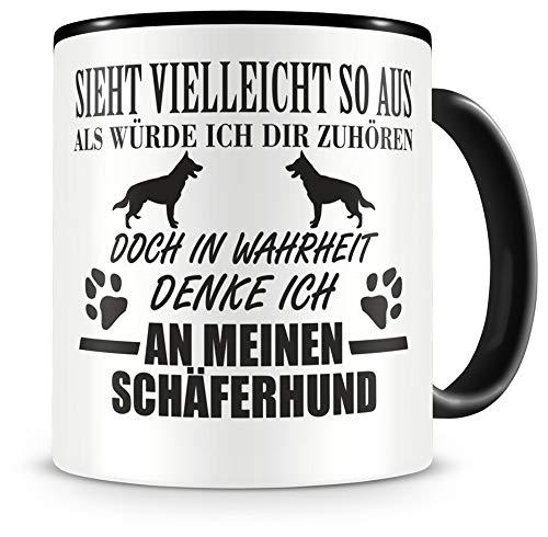 Samunshi® Ich denke an meinen Schäferhund Hunde Tasse Kaffeetasse Teetasse Kaffeepott Kaffeebecher Becher H:95mm/D:82mm schwarz