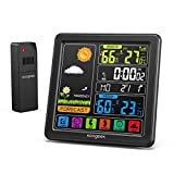 Weather Station,Wireless Indoor Outdoor Thermometer Hygrometer, 24h Weather Forecast with Clock, Color LCD Display Home Weather Stations with Calendar,Digital Temperature and Humidity Monitor