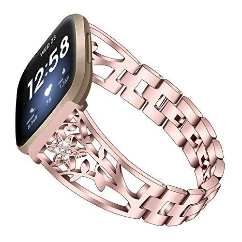 XIALEY Pulseras De Reemplazo Compatible con Fitbit Versa 3 / Sense, Bandas De Acero Inoxidable Correa De Metal De Diamantes De Imitación Brillante para Mujer Accesorios De Reloj Inteligente,Rose Pink