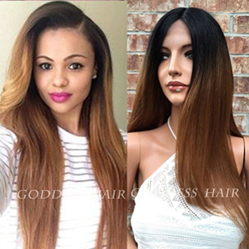 Lovestory Natural Straight Black Ombre Brown Full Lace Human Hair Wig For Women Lace Front Brazilian Virgin Human Hair Wigs 130 Density(24 inch lace f
