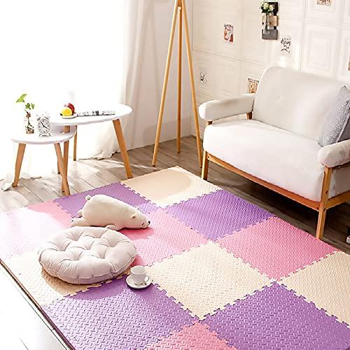 SLDAGe Colchonetas De Rompecabezas De Colores, Alfombrilla De Espuma para Actividades Al Aire Libre O En Interiores para Niños Pequeños Plegable Impermeable,Rice + Pink + Purple,9