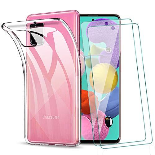 KEEPXYZ Funda para Samsung Galaxy A51 4G (No 5G) + 2 Pcs Protector de Pantalla Cristal Templado, Flexible Suave Silicona Transparente TPU Antigolpes Carcasa + Vidrio Templado para Samsung A51 4G
