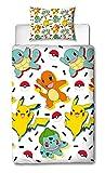 Pokémon housse de couette simple 200x135 cm réversible avec taie d'oreiller assortie