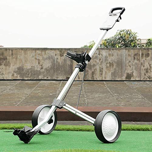 Starsmyy 2-Rad-Golftrolley Golfcart Zum Schieben Ziehen, Eine Sekunde Zum Öffnen Und Schließen des Wagens, Zusammenklappbarer Golfwagen, Fussbremse