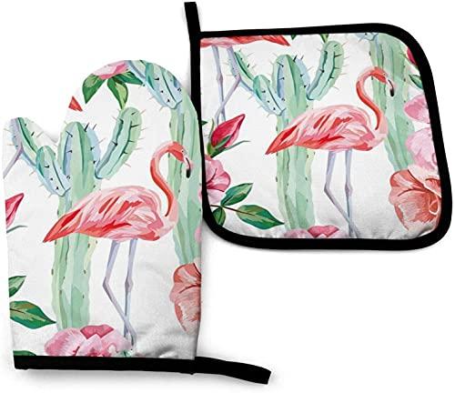 MODORSAN Cactus Flamingo Rose Flowers Juego de Manoplas para Horno y Soportes para ollas, Guantes Impermeables Resistentes al Calor Antideslizantes para cocinar en la Cocina, Hornear, Barba