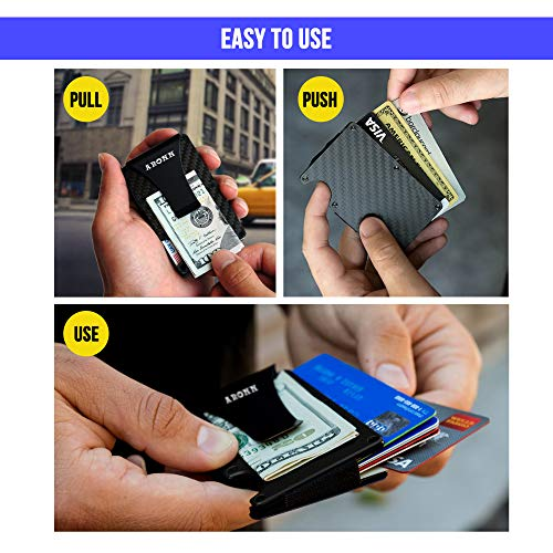 Minimalist Carbon Fiber Wallet Money Clip – RFID Blocking Credit Card Holder for Men and Woman – Metal Slim Wallet – Fits in Front and Back Pocket – Gift Box Included