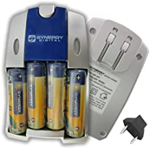 AA and AAA NiMH Quick Battery Charger - Includes 4-pack of 2800mAh Rechargeable AA Ni-MH Batteries - 110/220V