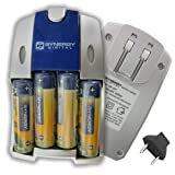 Synergy Digital Camera Battery Charger, Works with Kodak ZXD Pocket Digital Camera, AA & AAA NiMH Quick Battery Charger, Includes: 4-pk 2800mAh Rechargeable AA Ni-MH Batteries, Car & EU adapters
