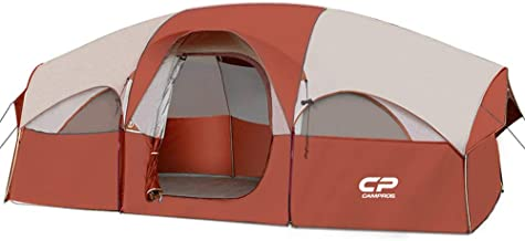 CAMPROS Tent-8-Person-Camping-Tents, Waterproof Windproof Family Tent, 5 Large Mesh Windows, Double Layer, Divided Curtain...