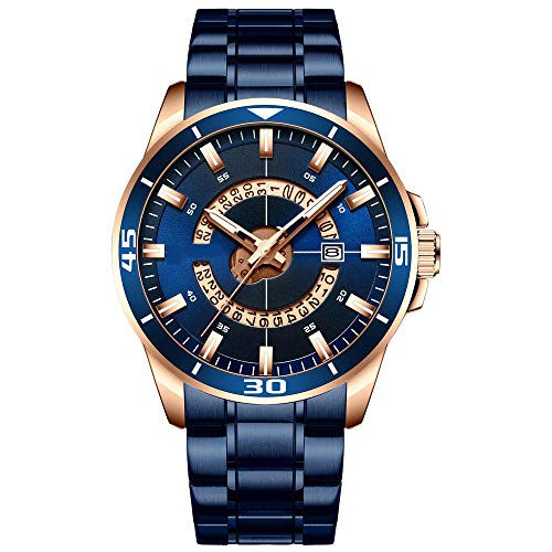 Eantpure Inoxidable Analogicos Fecha,Impermeable, Reloj de Cuarzo, Reloj con Calendario, Reloj de Negocios para Hombres-B,Impermeable Fecha,Relojes