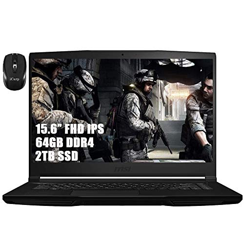 MSI GF63 Thin and Light Flagship Gaming Laptop Computer 15.6' FHD IPS Display Intel Quad-Core i5-9300H (i7-7700HQ) 64GB DDR4 2TB SSD 4GB GTX 1650 Max-Q HDMI WiFi Webcam Win 10 + iCarp Wireless Mouse