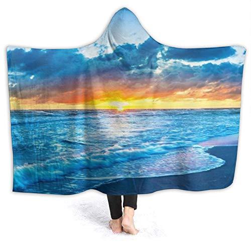 SUHETI Tragbare Hoodie Decke,Ocean Seashore Coast Sea Wave Sommerinsel Pacific...