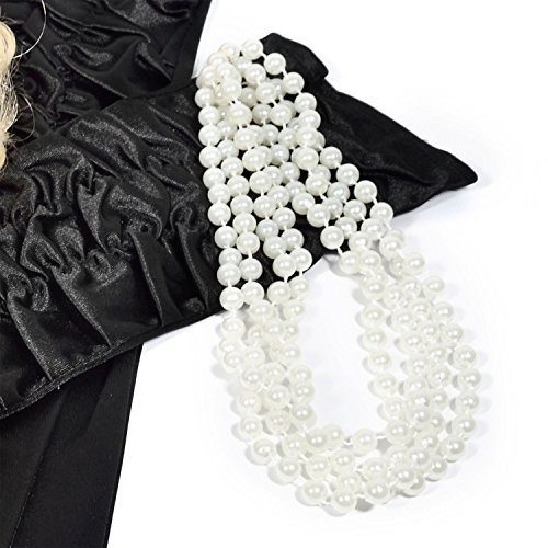 GOODS+GADGETS Charleston 20er Jahre Perlenkette 180cm Lange Halskette mit Perlen weiße Kette für Burlesque Kostüm Kleid Outfit Accessoire (Perlenkette)