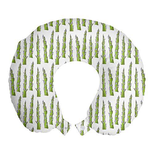 ABAKUHAUS Spargel Reisekissen Nackenstütze, Artikel Greenery Veggie, Schaumstoff Reiseartikel für Flugzeug und Auto, 30x30 cm, Coconut Apfelgrün