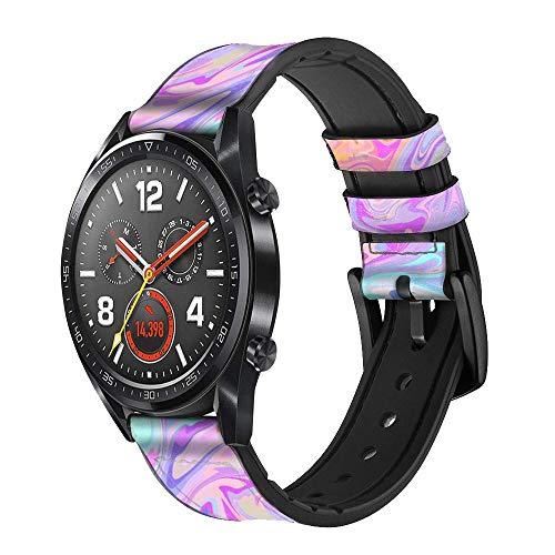 Innovedesire Digital Art Colorful Liquid Correa de Reloj Inteligente de Cuero para Wristwatch Smartwatch Smart Watch Tamaño (24mm)