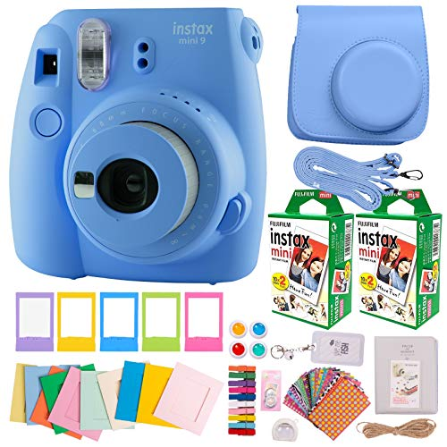 Fujifilm Instax Mini 9 Camera Value Bundle with Everything Needed for Girls & Kids to Take & Print Pictures. Includes Fuji Instant Film (40 Sheets), Premium Case, Lens, Filters, Cute Album, St (Blue)