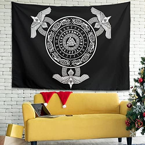 OwlOwlfan Viking - Tapiz de pared para colgar en la pared, suave y personalizado, tela decorativa de picnic, manta para dormitorio, sala de estar, dormitorio, color blanco 59 x 51 pulgadas