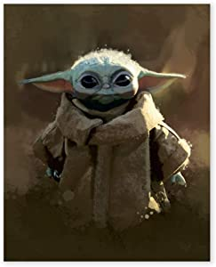 Baby Yoda Wall Art Print - Unframed 8x10 in - Mandalorian Prints, Star Wars Painting for Kids Room, Playroom - Wall Decorations for Girls Boys Bedrooms - Children Gift Party Decor