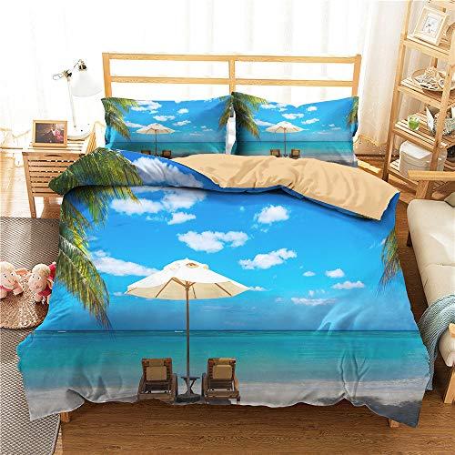3D Beach Landscape Sea Copripiumino 260x220 Biancheria da Letto Sedia da Spiaggia Tropicale Sand Summer Comforter Set Queen King Twin Full Size Microfibra per Kid Girl Adulto,Super King(260*220)