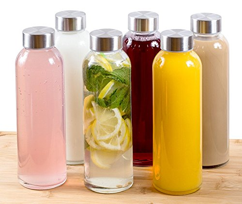 Price comparison product image Estilo Glass Water Bottles 16 oz,  Stainless Steel Cap - Case of 6