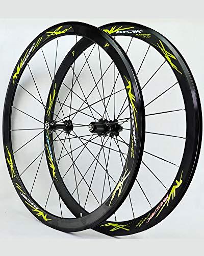 WXX 700C Bike Wheelset, Double Paroi en Alliage D'aluminium De Cyclisme sur Route Roues De 40 Mm De Course Roue De Vélo Frein À Disque 24 Trou Rapide Release8 / 9/10/11 Vitesse,Vert