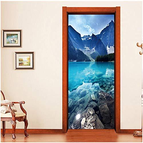 3D Deur Sticker Creatieve Home Decoratie Woonkamer Slaapkamer Voordeur Achterdeur Verwijderbare Vinyl PVC Blauw Chinese Mountain Lake Landschap muurschildering 77x200cm