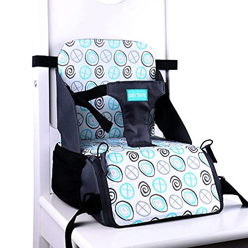Asientos elevadores de bebé con espacio de almacenamiento debajo del asiento de 6 meses a 3 años de edad, cojín elevador para sillas de comedor, asiento de alimentación infantil para mesa (beige)