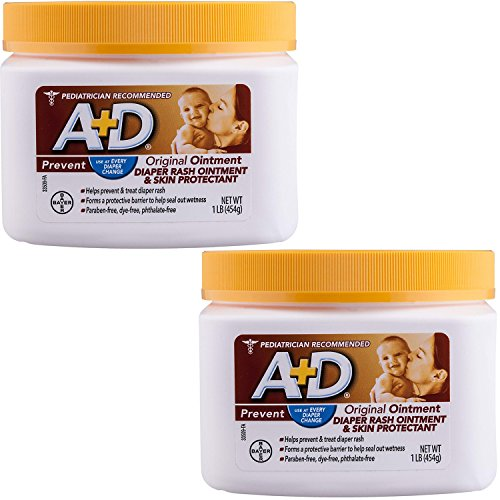 A+D Original Diaper Rash Ointment, Skin Protectant with Lanolin and Petrolatum, Seals Out Wetness, Helps Prevent Baby Diaper Rash, 1 Pound Jar. (2-Pack (1 Pound))