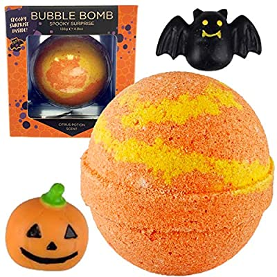 Spooky Bubble Bath Bomb for Kids with Surprise Halloween Squishy Toy Inside by Two Sisters Spa. Large 99% Natural Fizzy in Gift Box. Moisturizes Dry Sensitive Skin. Releases Color, Scent, and Bubbles
