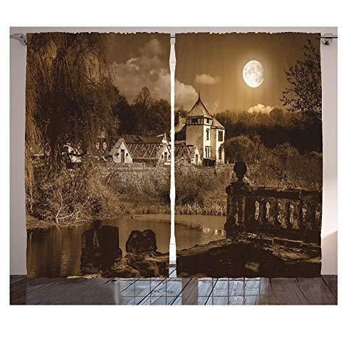 WKJHDFGB Esszimmer Vorhänge Gotischen Dekor Foto des Alten Alten Mittelalterlichen Hauses In Retro Vintage Farbe Vollmond Luna Boho Stil Wohnzimmer Dekor 215 X 260Cm