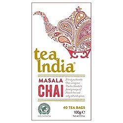 Tea India real Chai 40 Tea Bags 100g Tea India A rich, warming blend of black tea, cinnamon, cloves and anise for a truly distinctive Chai experience