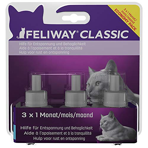 FELIWAY Classic - Antiestrés para gatos - Marcaje con orina, Miedos, Cambios en el entorno, Arañazos Verticales - Pack ahorro 3 recambios 48ml