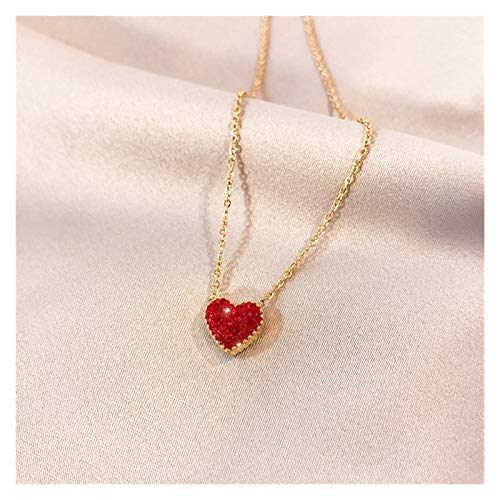 SSN Lovely Peach Heart Necklace Female Three-dimensional Dot Diamond Love Pendant Rose Gold Titanium Steel Clavicle Chain