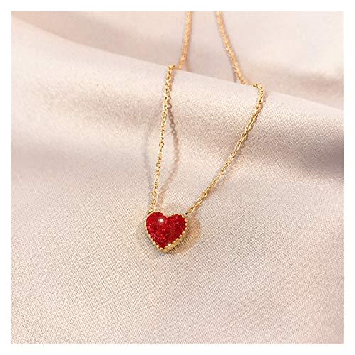 SSN Encantador Collar De Corazón Melocotón Hembra Tridimensional Punto Diamante Amor Colgante Rosa Oro Titanio Acero Clavícula Cadena De Clavícula