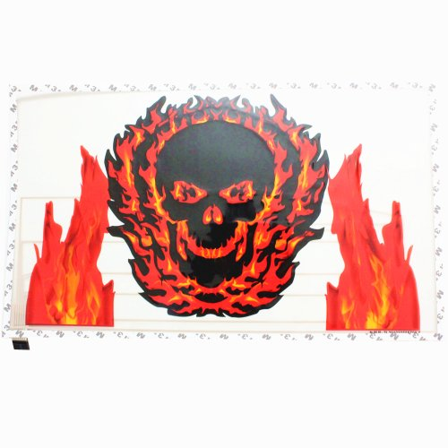 "Sound Music Beat Activated Car Stickers Equalizer Glow Black and Red Skull LED Light Audio Voice Rhythm Lamp(19.5"" X 11.5"")"