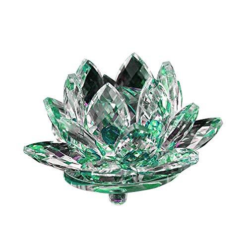 DIYARTS 80mm Kristall Lotus Licht Blume Kerze Auto Dekoration Ornamente Handwerk Home Dekorationen Tee licht Energie sparen wasserdichte einzigartige Form (Green)