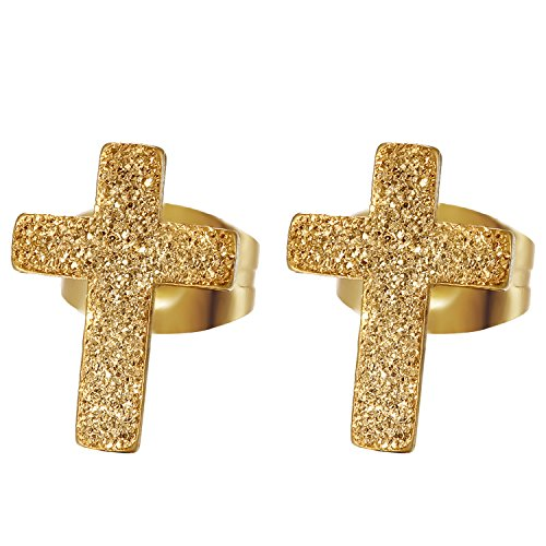 Jewelrywe Dull Polish Small Gold Stainless Steel Cross Stud Earrings For Women & Men Hot Fashion Brincos Pendientes